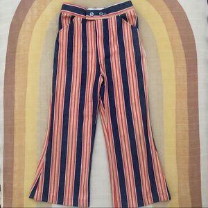 Vintage 70s Boho Striped Bell Bottom Flared Pants